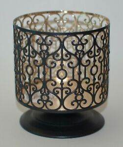 BATH BODY WORKS BLACK ORNATE HEART PEDESTAL LARGE 3 WICK CANDLE HOLDER SLEEVE
