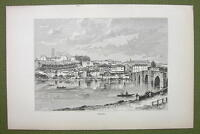 FRANCE Limoges View of Town City - 1880s Antique Print