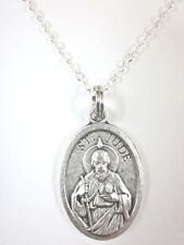 "St Jude Medal Italy Pendant Necklace 20"" Chain Gift Box & Prayer Card"