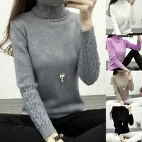 Women Turtleneck Winter Sweater Long Sleeve Knitted Sweater Pullovers Jumper T^t