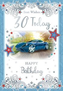 Best Wishes 30 Today Card. Picture Of A Car For Age 30 Male