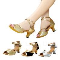 Womens Ladies Tango Ballroom Latin Salsa Waltz Dance Shoe Glitter Heeled UK Size