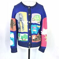 Berek Marta D Pima Cotton Sz Medium  Animal Eagle Cardigan Sweater Blue Vintage