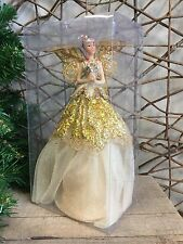 Gisela Graham cream and gold tree top Christmas fairy angel 23cm