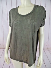 Kersh T Shirt S Olive Green Poly Cotton Stretch Sheer Embossed Snake Print Comfy