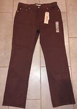New Womens 14 Levi Strauss 505 Straight Stretch Brown Jeans Pants W32 L32