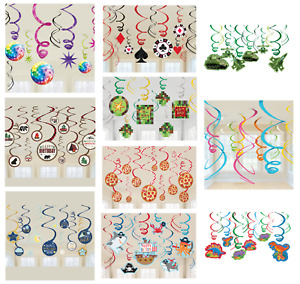 12 HANGING SWIRLS - Themed Party Decorations - Childrens Adult Birthday Banners
