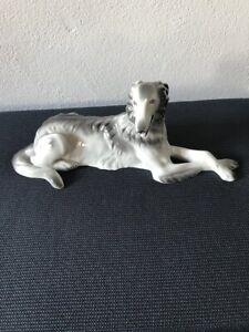 Porzellanfigur Russischer Windhund Barsoi sitzend