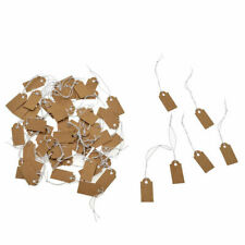 100pcs Blank Kraft Paper Tags Hanging String Pricing Labels Jewelry Gift Card Us