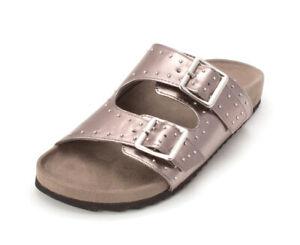 Bar III Womens Mealissa Open Toe Casual Slide Sandals, Pewter, Size 8.5