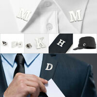 Men 26 Letters Brooch Clip Buckle Suit/Shirt Collar Lapel Tie Pin Buckle Wedding
