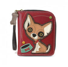 NEW CHALA BURGUNDY RED CHIHUAHUA DOG ZIPPERED WALLET FAUX LEATHER