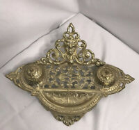 VTG Desktop Brass Double Inkwell Lion's Head and Scroll Design