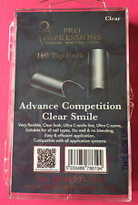 Pro Impressions Box 100 Advance Competition Clear Smile Tips Nails Acrylic Gel