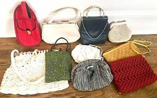 Vintage Purses Lot Of 12 Incl Sharif, Leather, Lucite, Beaded, Tweed Etc