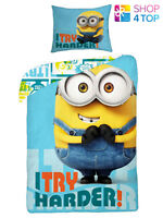 DESPICABLE ME MINIONS TRY HARDER SINGLE DUVET SET COVER QUILT BEDDING CHILDRENS