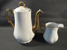 Antica caffettiera e pentola a latte porcellana di Limoges B & Cie dorata