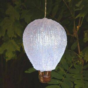 WHITE BALLOON SOLAR HANGING GARDEN LANTERN PATIO LED LIGHTS INDOOR OUTDOOR NEW