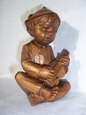 Holzfigur Junge mit Gitare Giterrenspieler Holzschnitzerei
