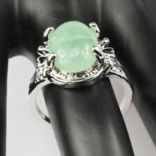 Green Aventurine Gemstone  Jewelry 925 Silver Plated Men Women Ring Size 7