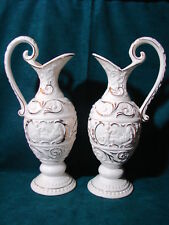 Fabulous Vintage PAIR Japan 3 Leaf Clover Mark Tall White Ceramic Ewers /Pitcher