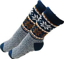 Mens Thick Knit Sherpa Fleece Slipper Socks Blue Base Snowflakes 10-13