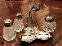 Meriden B. Co. Silverplate 3 Piece Condiment Set Salt, Pepper & Mustard No. 099