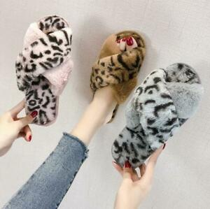 Women's Furry Slippers Autumn and Winter Leopard Print Home Cotton Shoes
