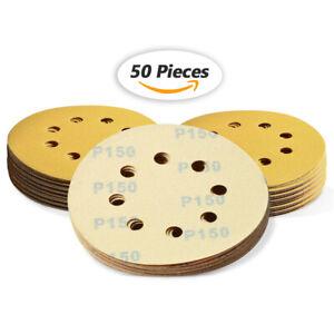 """5"""" 8 Hole Sanding Discs 150 Grit Dustless Hook and Loop Sandpaper Orbital Sander"""