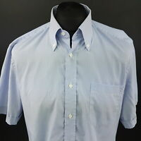 HUGO BOSS Mens Shirt 41 16 (LARGE) Short Sleeve Blue Regular Fit Striped Cotton