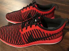 Nike Youth Roshe 2 Flyknit Running Shoes Size 7Y Red Black White
