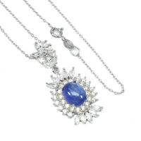 Unheated Oval Tanzanite 10x8mm Cz White Gold Plate 925 Sterling Silver Necklace