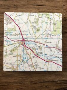Bombus Wooden Wall Map Square Block - Wansford, Stibbington, Wittering, A1, A47