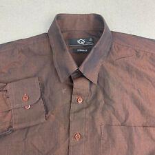 Tqs Formals Button Up Shirt Mens 40cm Brown Shimmer Long Sleeve