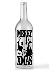 Merry Xmas Santa on Sleigh Wine Bottle Sticker Vinyl Sticker Christmas