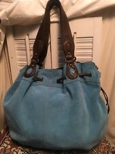 LUCKY BRAND Turquoise Blue Suede Leather Slouch Hobo Shoulder Boho Handbag Large