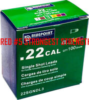 0.22 Caliber Single Shot Loads,Red, Strong,Power Fasteners,Neck Down,100-Count