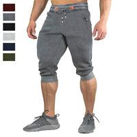 Men's Gym Fitness 3/4 Capri Shorts Jogger Athletic Loose Fit Casual Cotton Pants