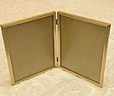 """Vintage Ornate Metal Double Photo Frame with Glass - Gold Plated 8"""" X 10"""""""