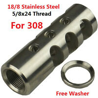 Stainless Steel 5/8x24 Thread 308 .308 Competition Muzzle Brake W Crush Washer