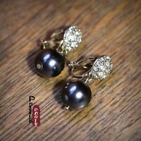 Boucles d'Oreilles Clips Pendant Perle Gris Cristal Simple Retro Original J3