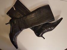 Original Dolce & Gabbana Stiefel Stiefeletten Gr.36,5 36 Schwarz Aal Leder D&G