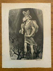"""William Gropper """"Johnny Appleseed"""" Signed Lithograph 1941"""