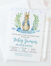 10 PERSONALISED PETER RABBIT CHRISTENING INVITATIONS OR THANK YOU CARDS