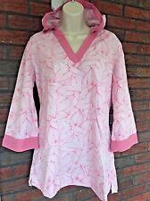 L L Bean Pink White Tunic Dress Beach Cover Up Hooded Hoodie Medium 3/4 Sleeves