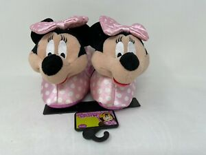 NEW! Disney Toddler Girl's Minnie Mouse Slip On Slippers Pink/Polka Dots 140H r