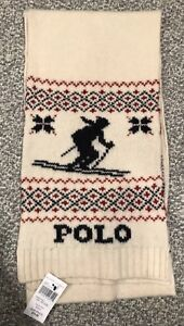 NWT Downhill Skier Skiing Polo Ralph Lauren Men's 100% Wool Scarf Cream White