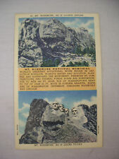 VINTAGE LINEN POSTCARD BEFORE AND AFTER VIEWS MT RUSHMORE SOUTH DAKOTA UNUSED