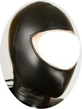 Faux Leather Full Head Open Face Zip Back Hood