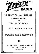 200 Page Manual  Reprint For Zenith Trans-Oceanic  H500  R520  600
